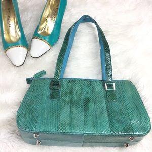 ETIENNE AIGNER Snakeskin Turquoise Shoulder Bag